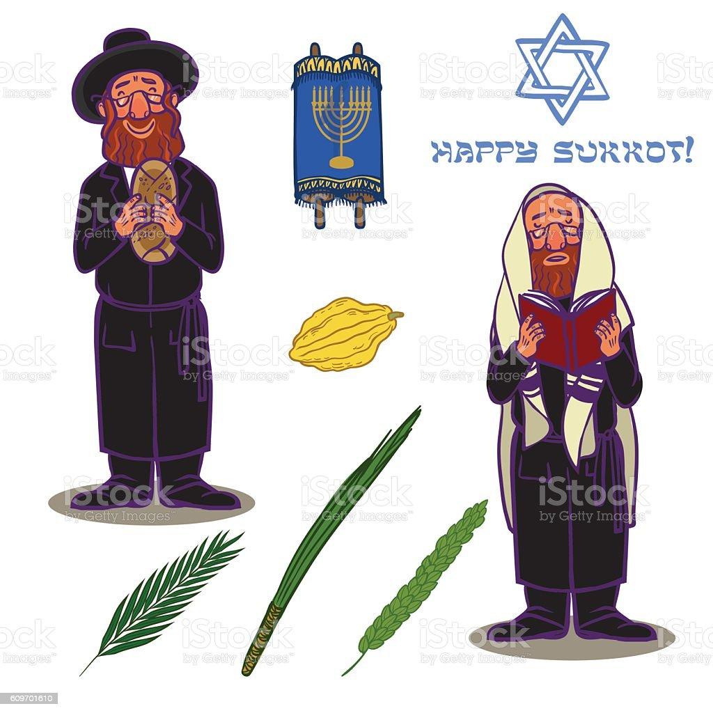 Judaism church traditional symbols icons set vector art illustration