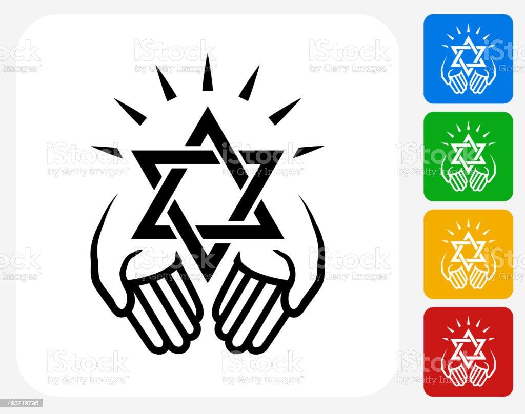Judaism Icon Flat Graphic Design vector art illustration