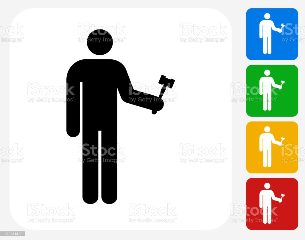 Judge and Hammer Icon Flat Graphic Design vector art illustration