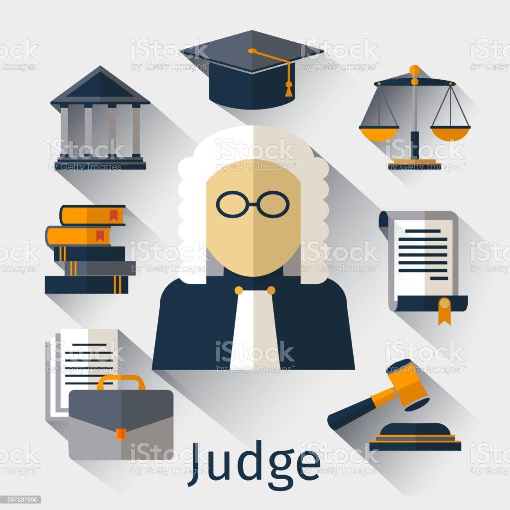 Judge flat icon. Justice vector symbols vector art illustration