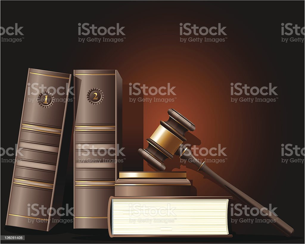 Judge gavel and book of law royalty-free stock vector art