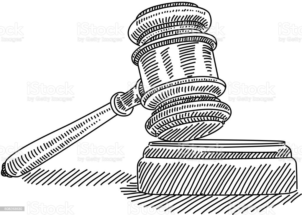 Judge gavel Drawing vector art illustration