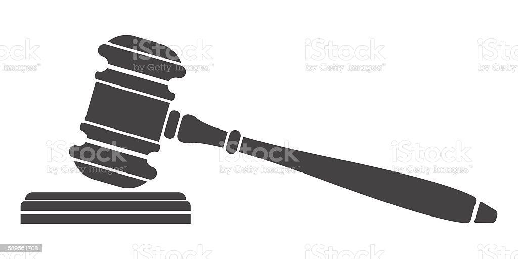 Judge gavel icon. vector art illustration