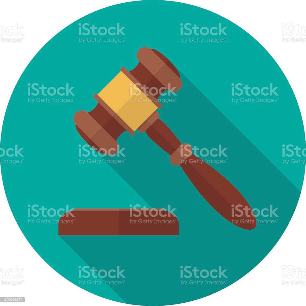 Judge gavel or auction hammer icon with long shadow. vector art illustration