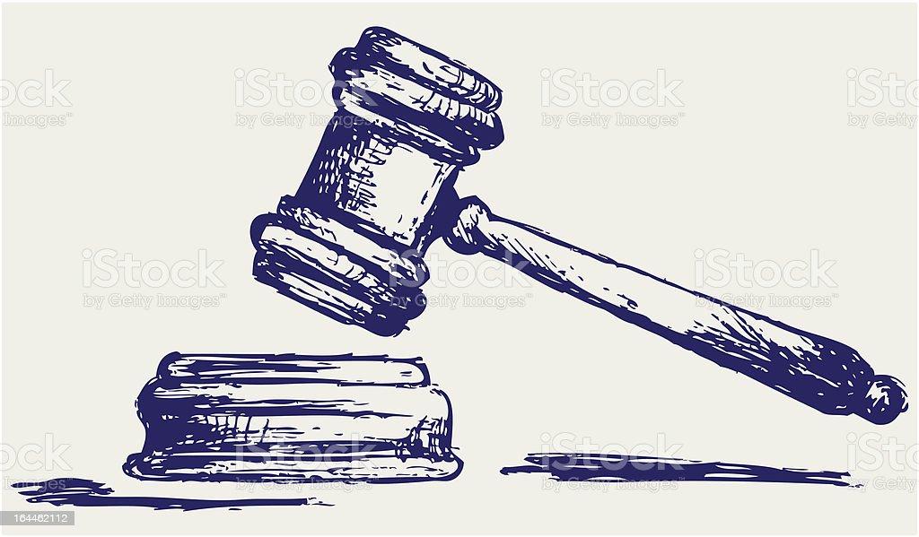 Judge gavel sketch vector art illustration