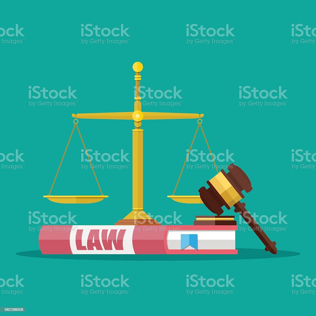 Judge gavel with law books and scales vector art illustration