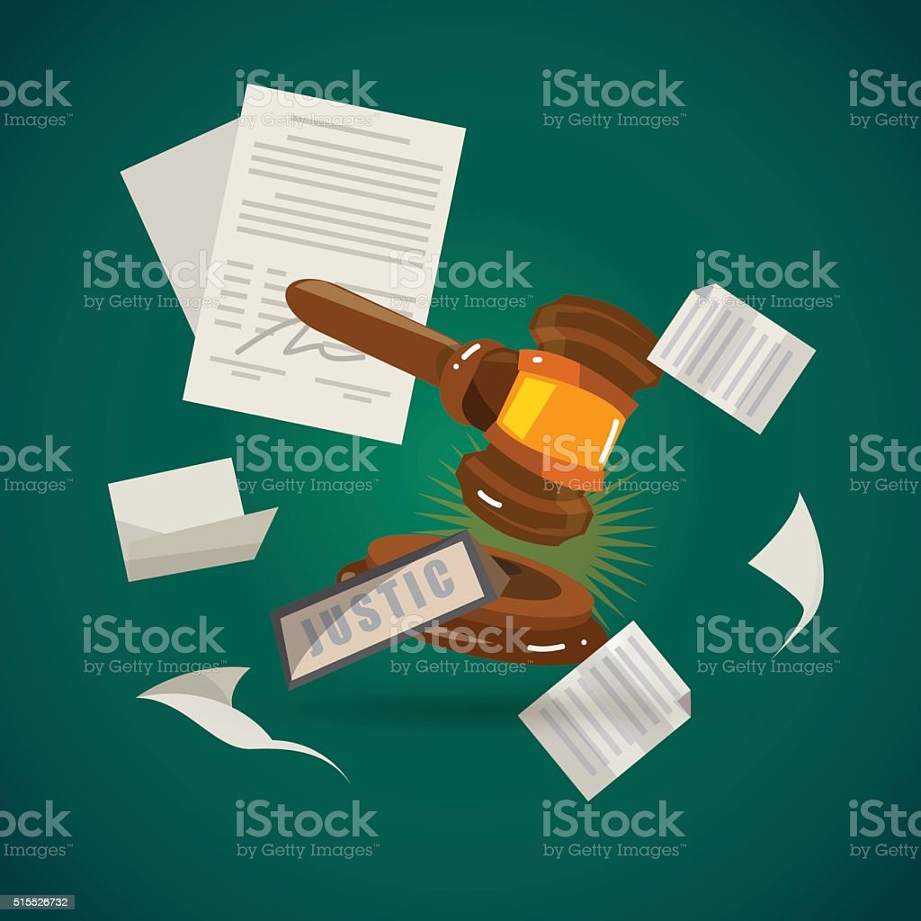 judge gavel with sheet of paper. vector art illustration