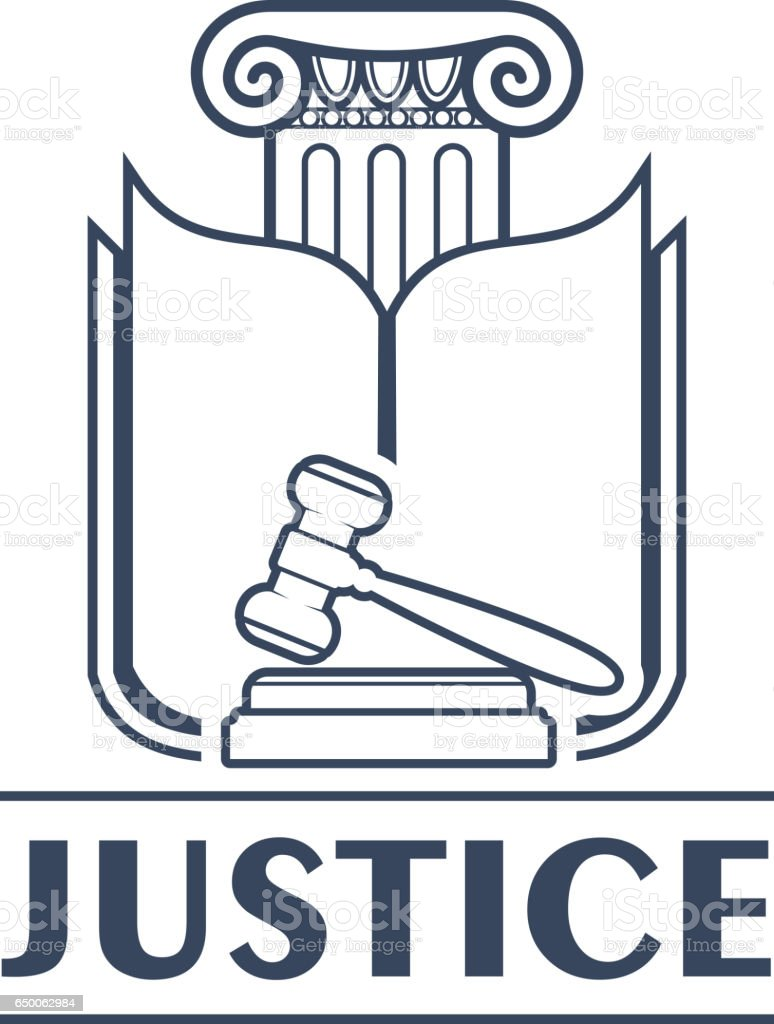 Judge hammer or gavel in front of book and column vector art illustration