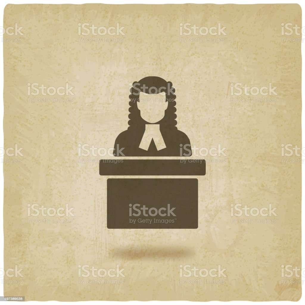 judge in wig old background vector art illustration