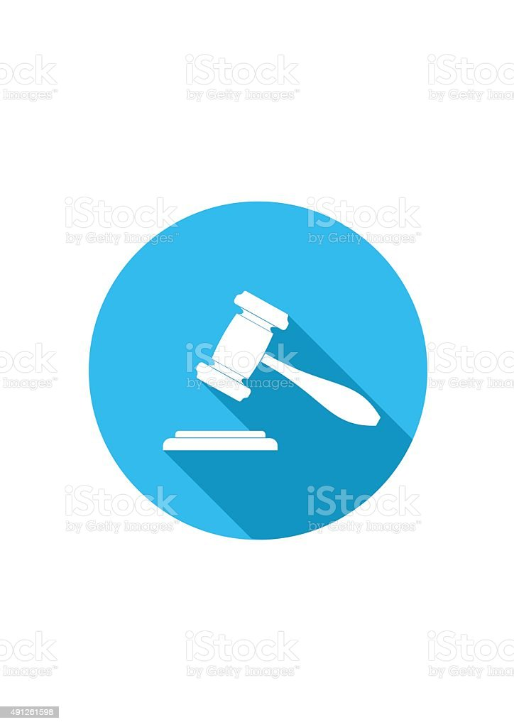 Judge or Auction Hammer icon. Vector Illustration. vector art illustration