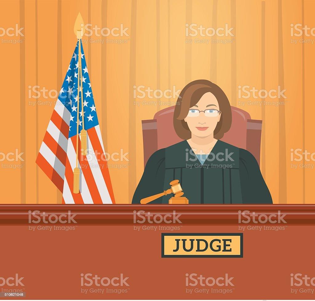 Judge woman in courthouse flat illustration vector art illustration