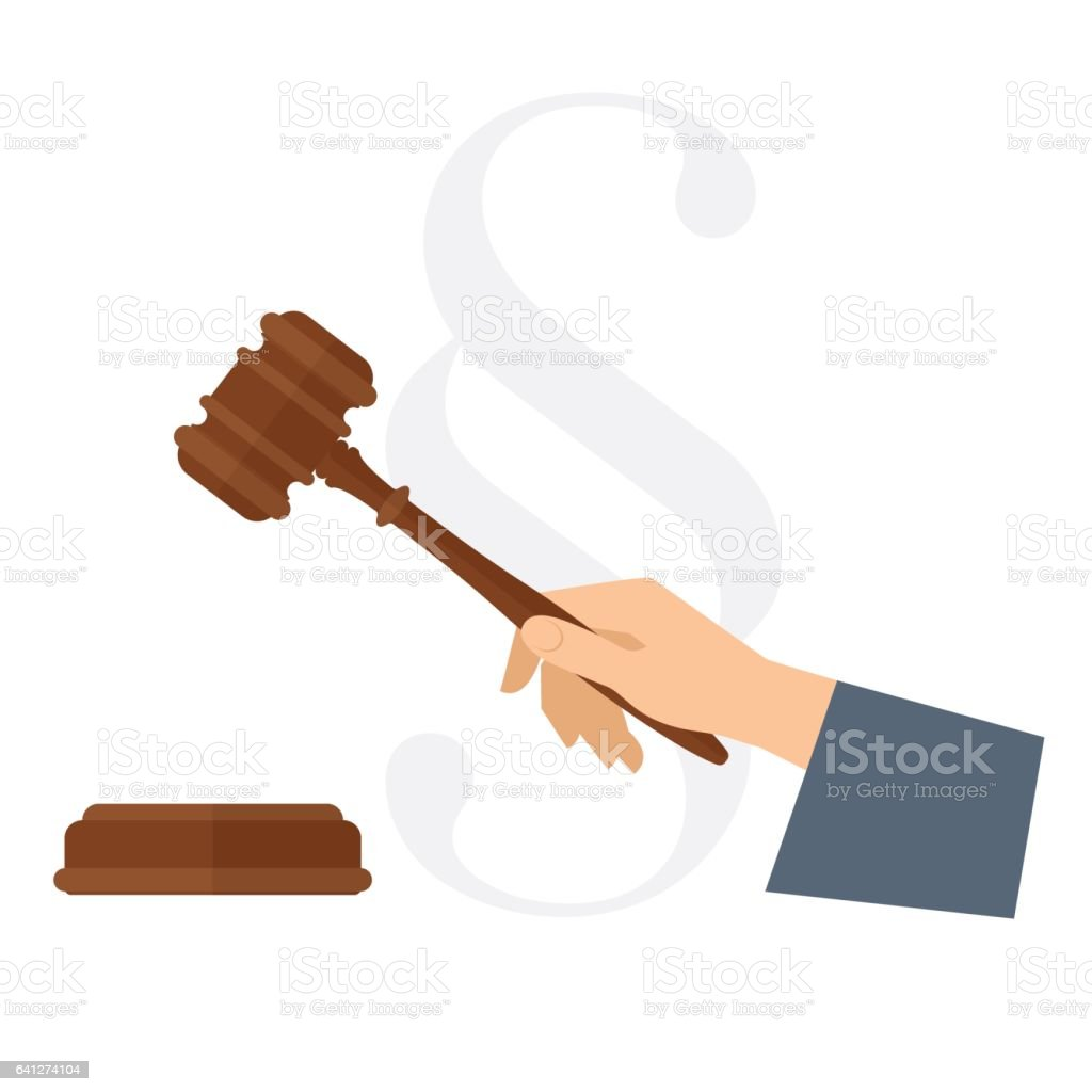 Judge's hand holding wooden gavel. Flat vector law concept illustration. vector art illustration