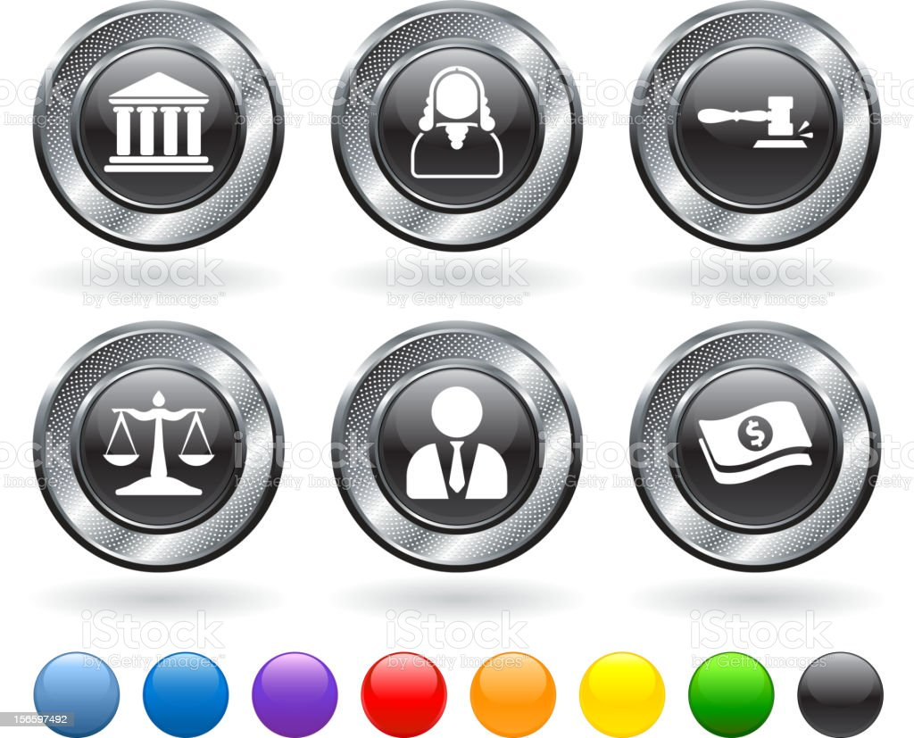 Judgment and legal settlement royalty free vector icon set royalty-free stock vector art