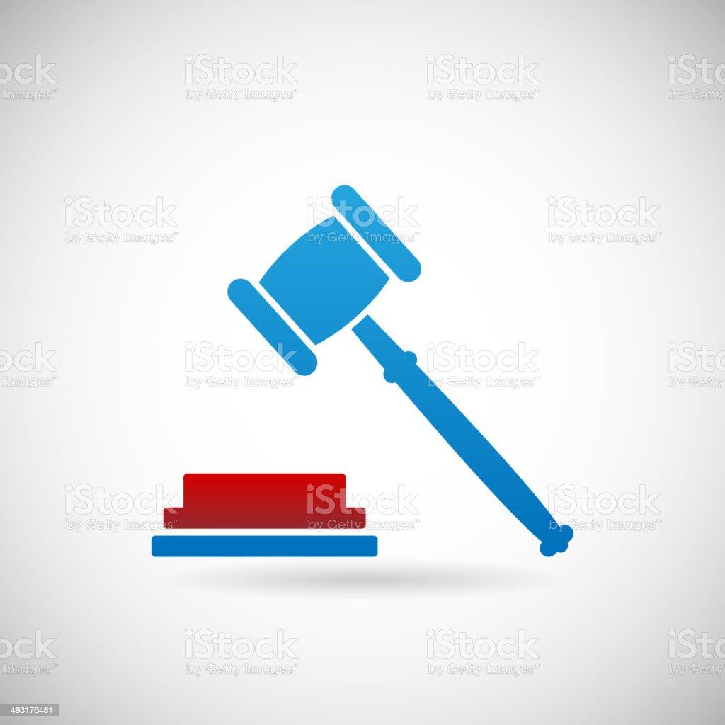 Judgment Verdict Symbol Judge Gavel Icon Template on Gray Background vector art illustration