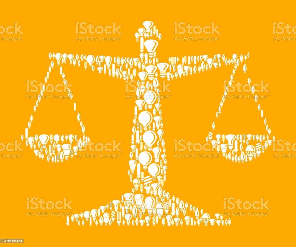 Judicial Scale on Vector Lightbulb Pattern Background vector art illustration