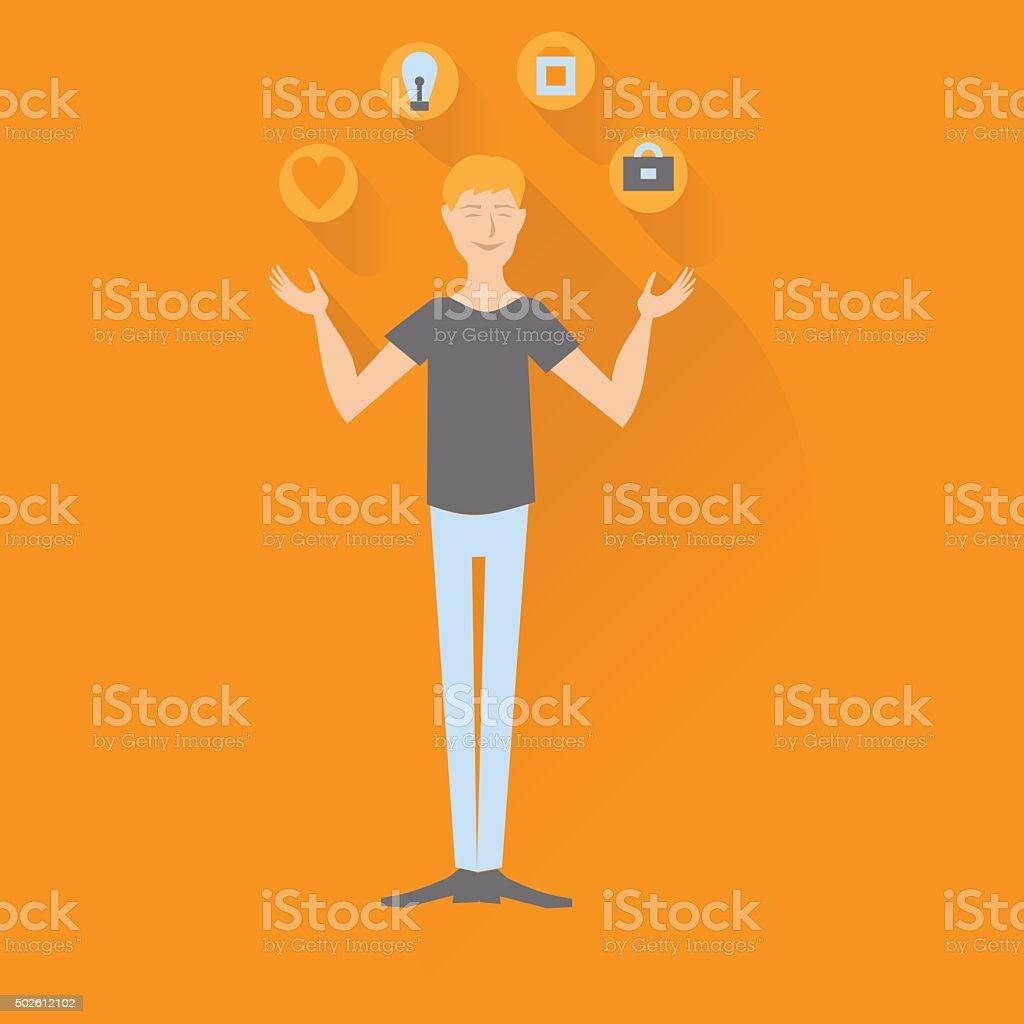 juggler man after psychological therapy vector art illustration