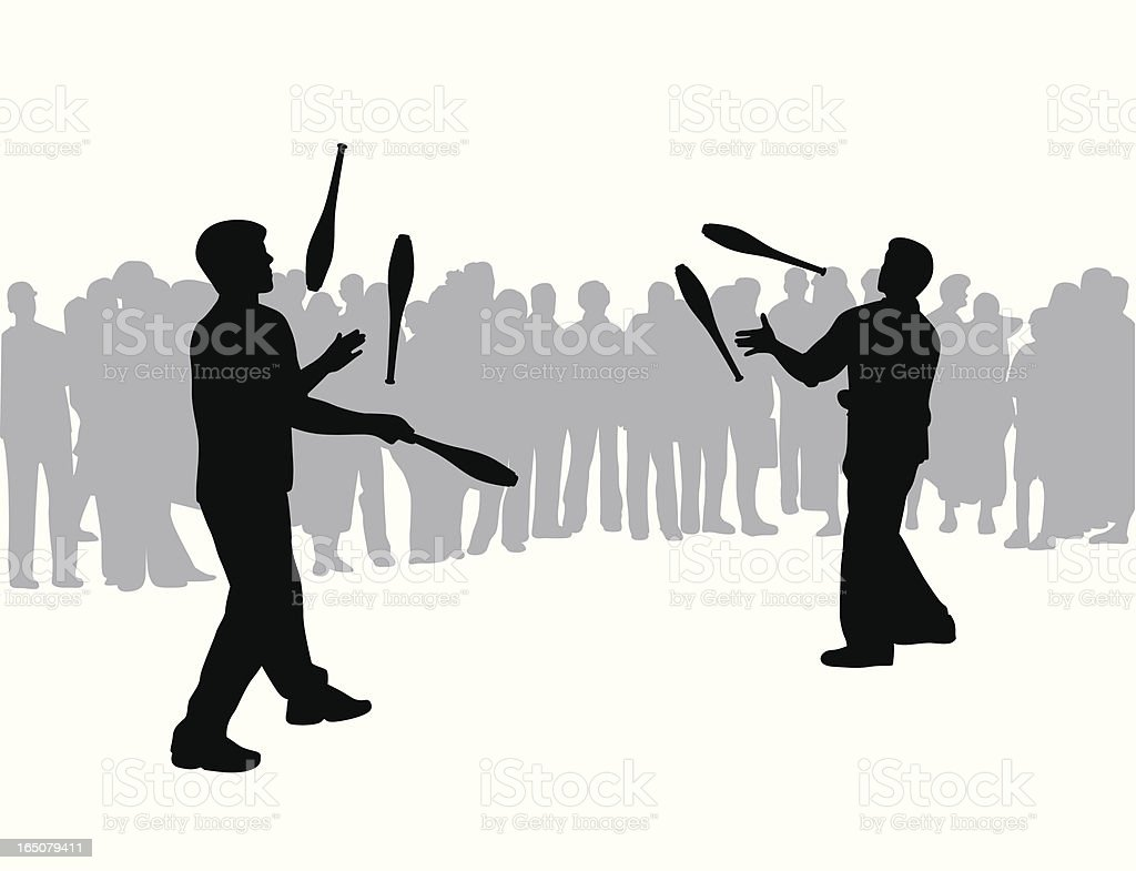 Jugglers Vector Silhouette vector art illustration