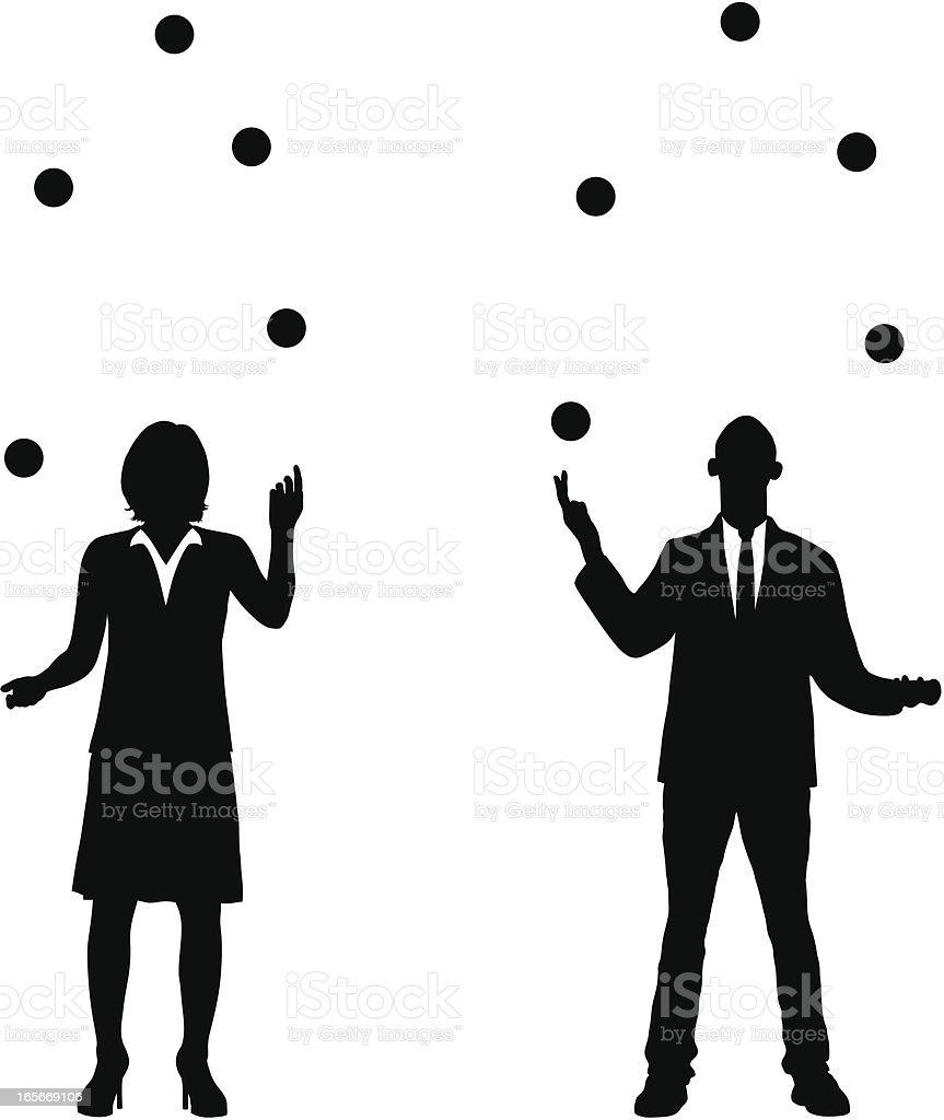 Juggling Business vector art illustration