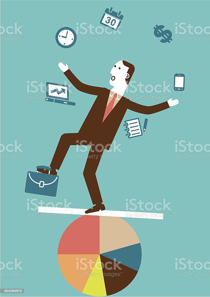 Juggling (Multitasking) Businessman | New Business Concept vector art illustration