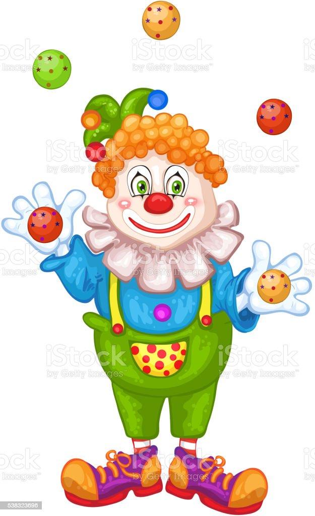 Juggling cartoon clown vector art illustration