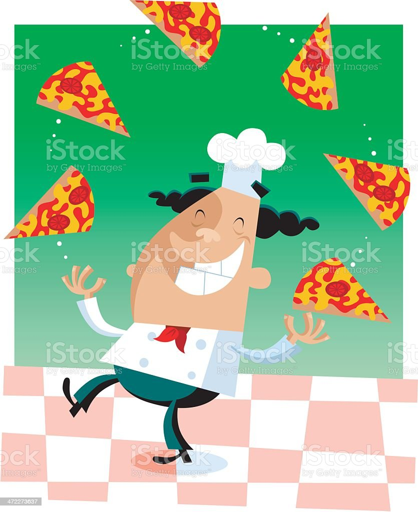 Juggling Pizza Chef royalty-free stock vector art