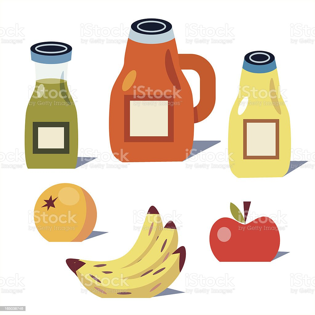 Juice and Fruit vector art illustration