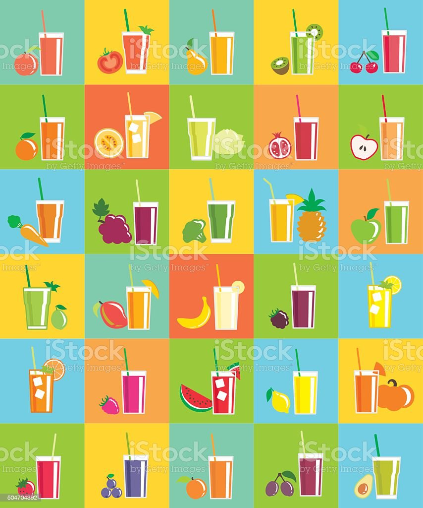 Juice icons vector art illustration