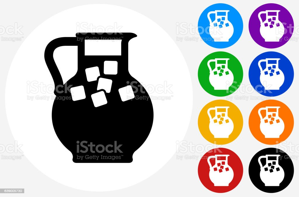 Juice Jug Icon on Flat Color Circle Buttons vector art illustration