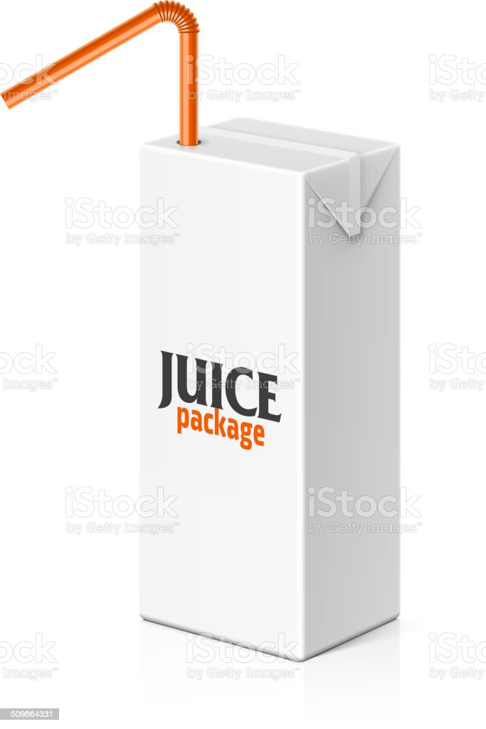 Juice or milk box with drinking straw vector art illustration