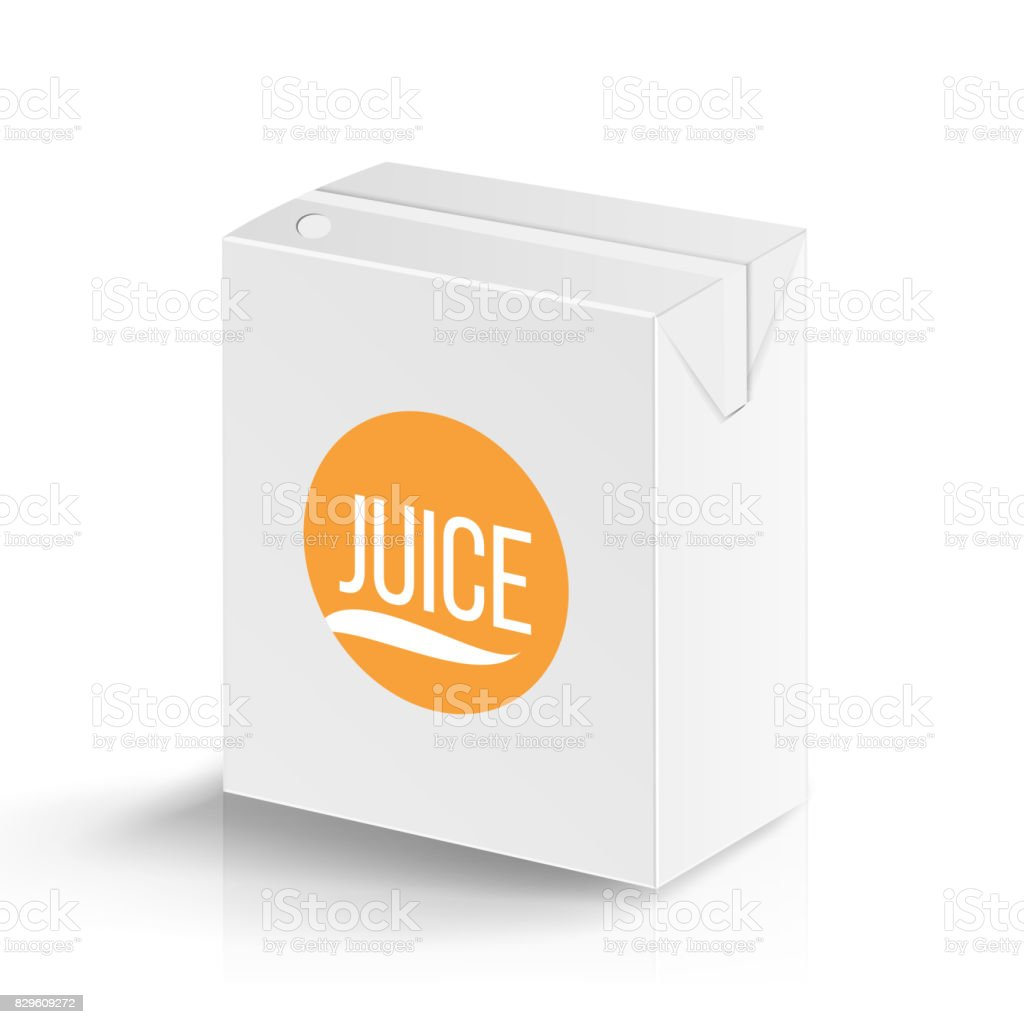 Juice Package Vector Realistic Mock Up Template. Carton Branding Box 200 ml. White Empty Clean Cardboard Package Drink Small Juice Box Blank Isolated. Vector Illustration vector art illustration