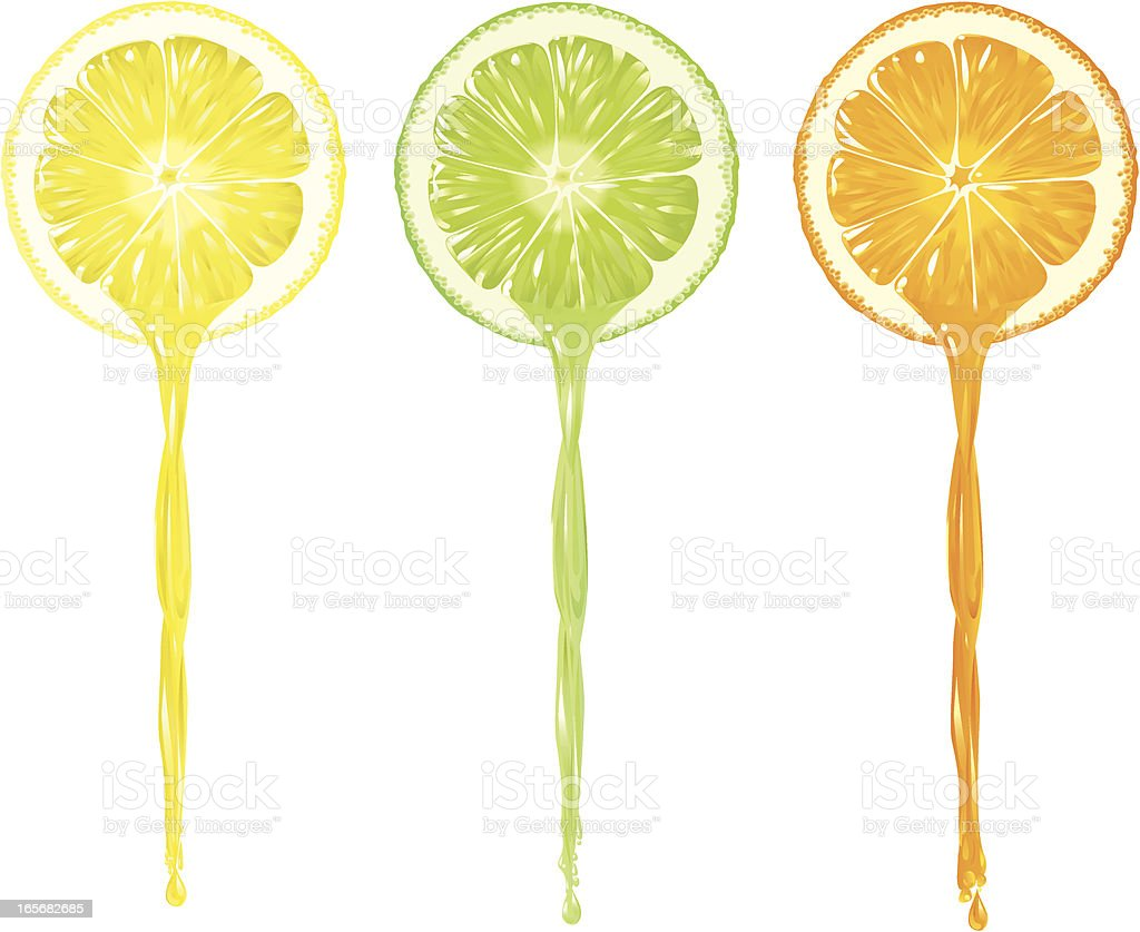 Juice pouring Lemon, Lime and Orange royalty-free stock vector art