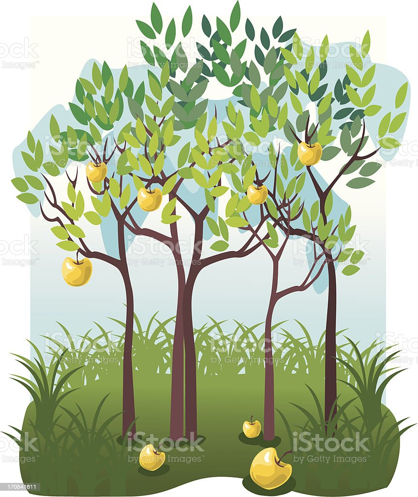 Juicy fruits in the apple garden royalty-free stock vector art