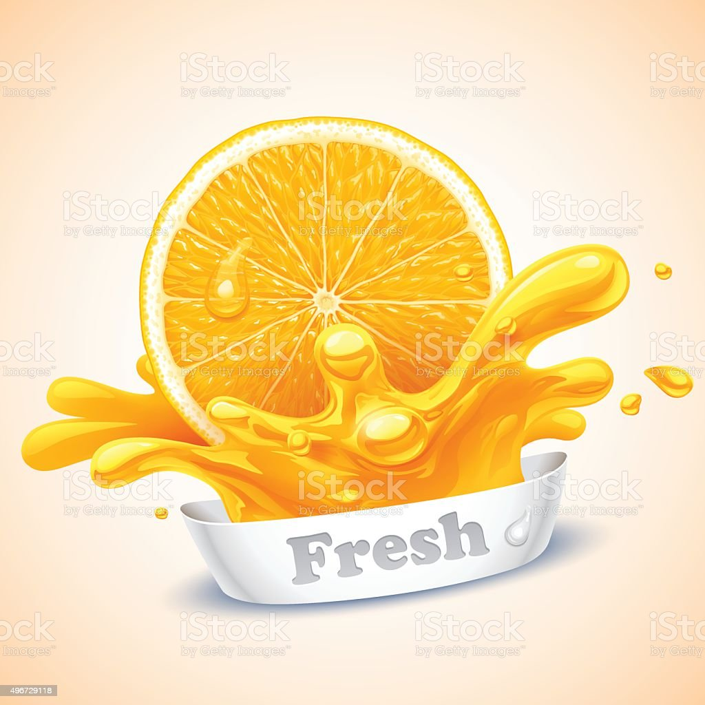 Juicy orange vector art illustration