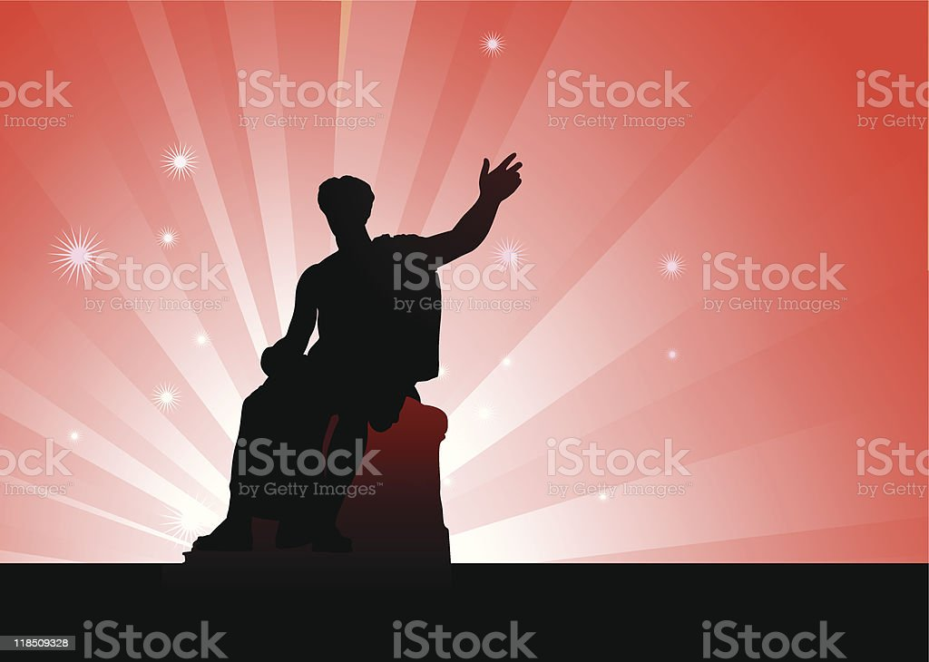 Julius Caesar statue on abstract red internet background royalty-free stock vector art