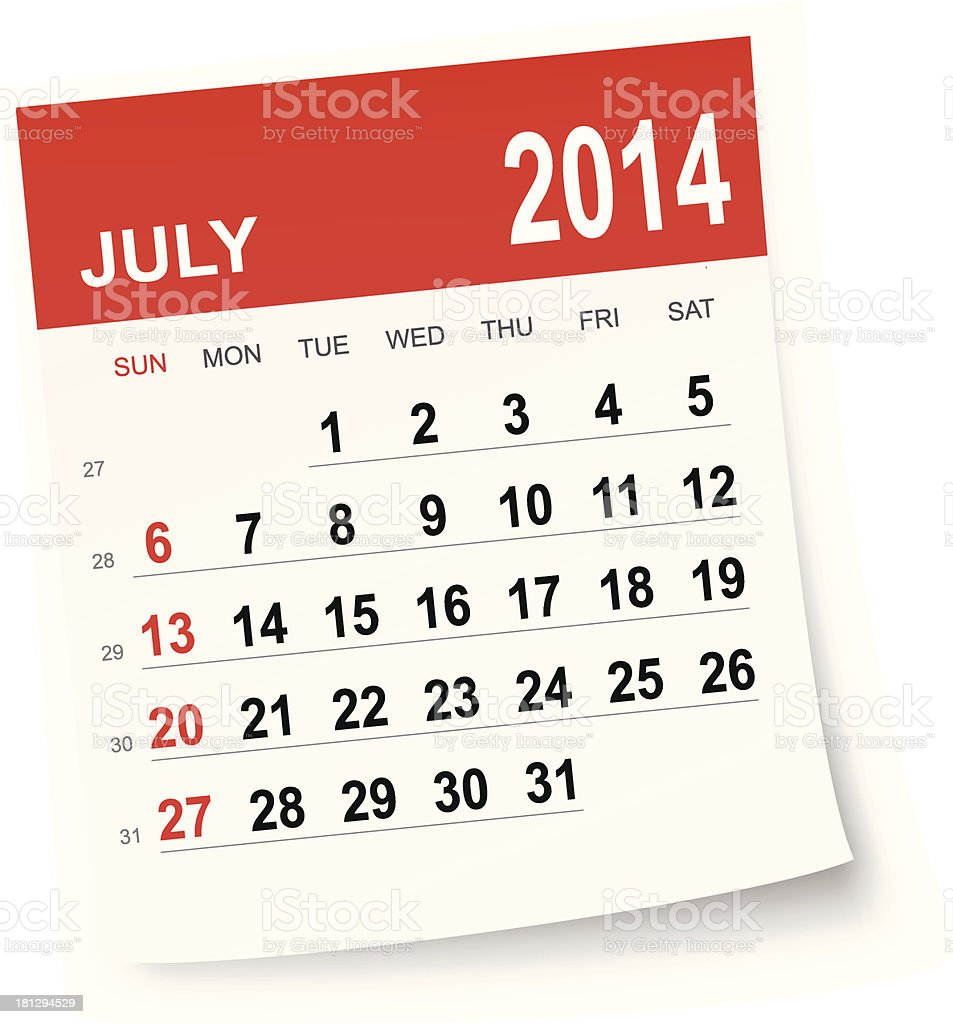 July 2014 calendar royalty-free stock vector art