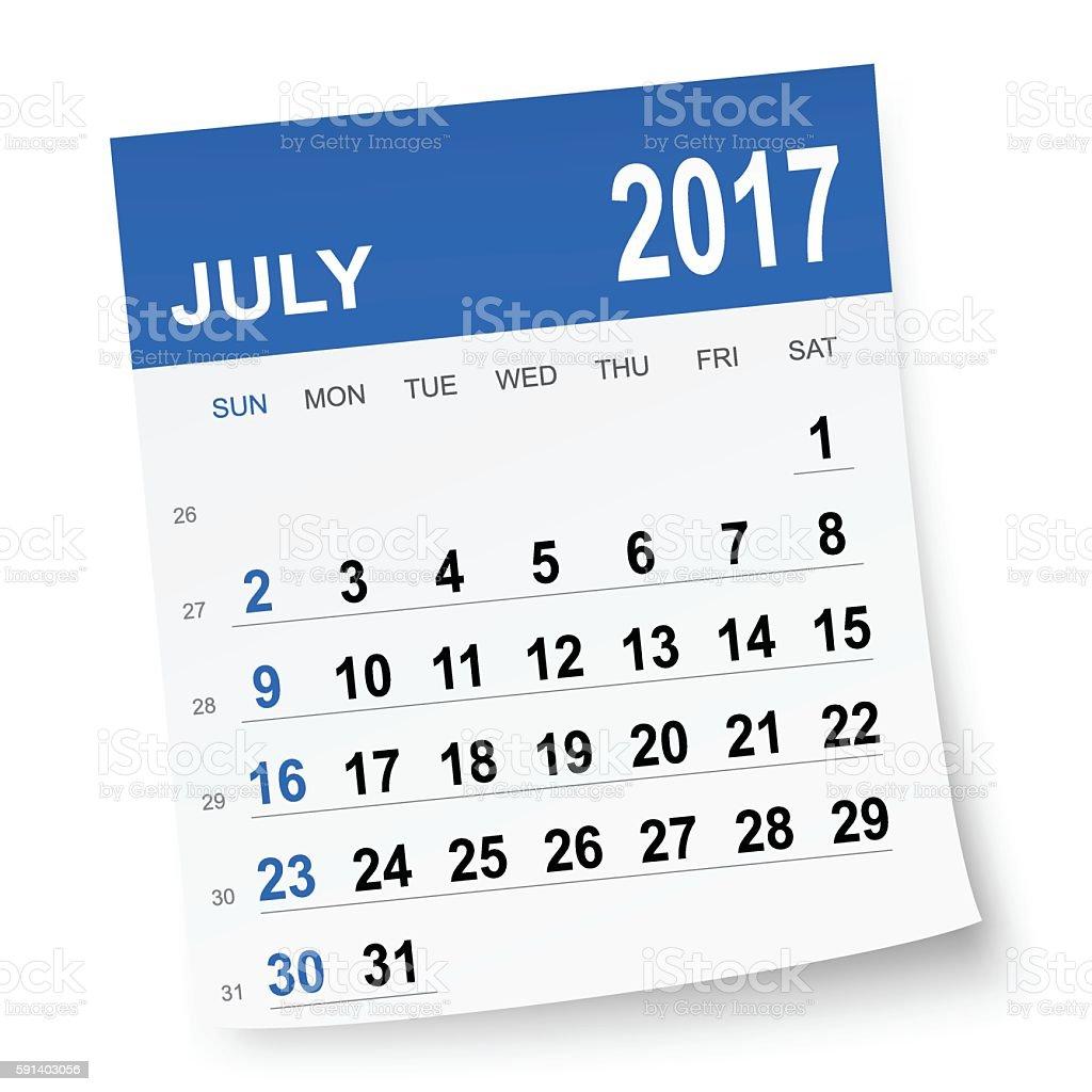 July 2017 calendar vector art illustration