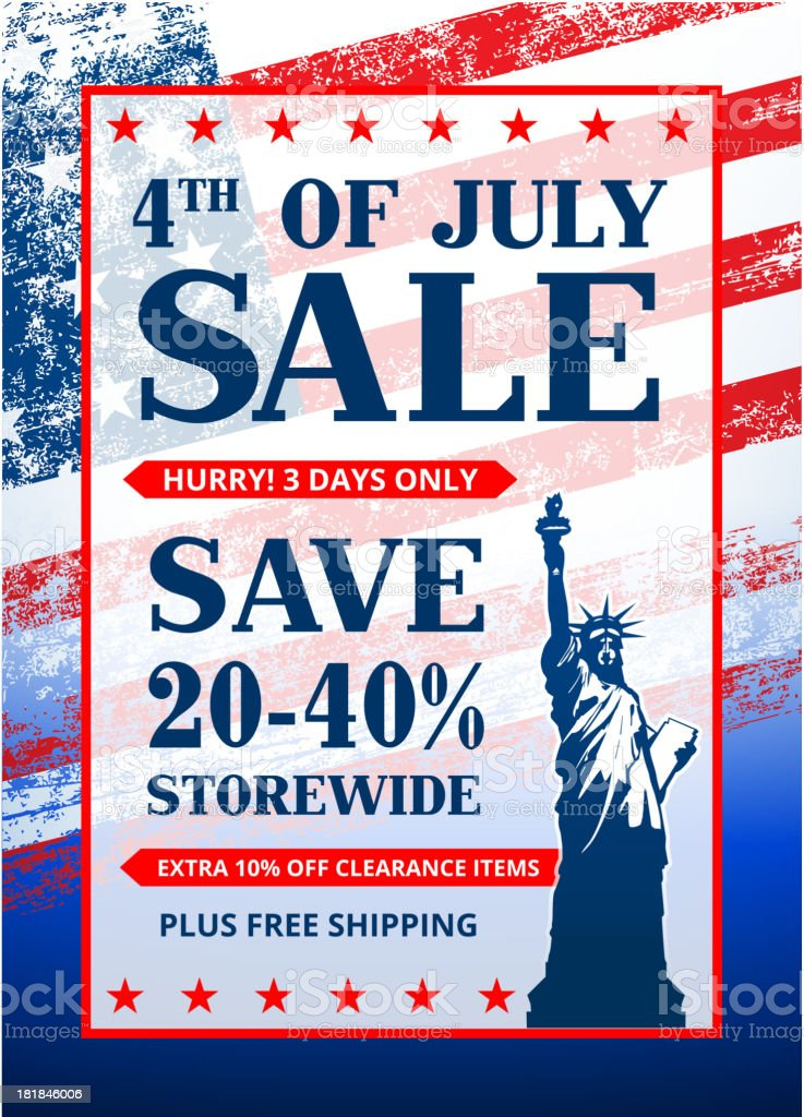 July 4th Background with Sale announcement royalty-free stock vector art
