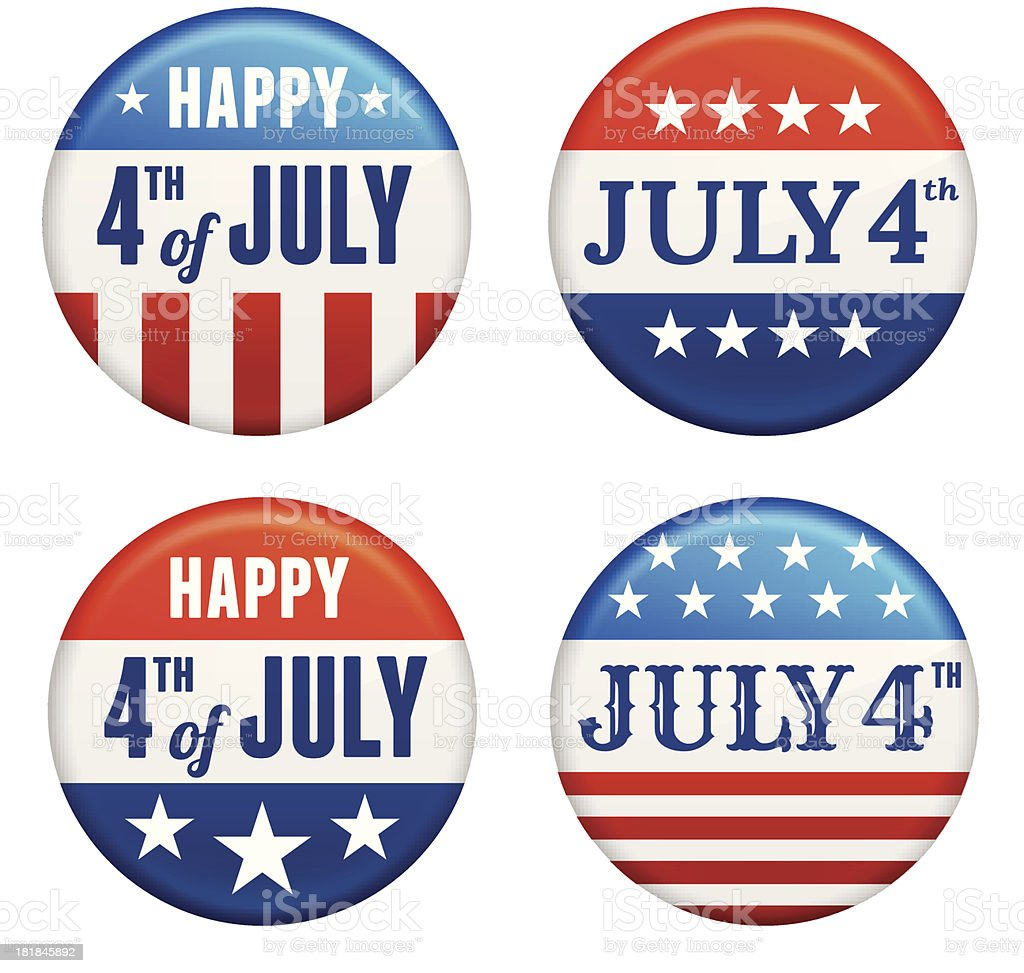 July 4th badges USA patriotic buttons set royalty-free stock vector art