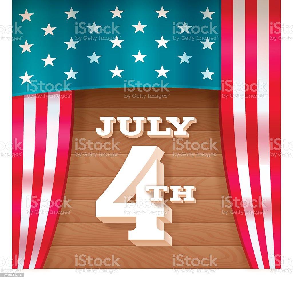 July 4th Flag Stage vector art illustration