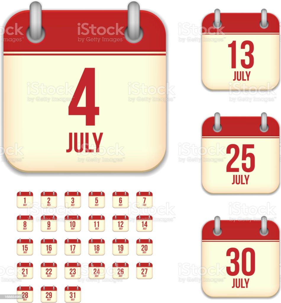 July days. Vector calendar icons vector art illustration