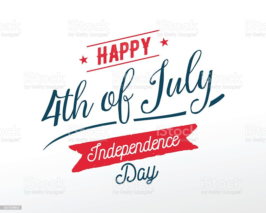 July fourth, United Stated independence day greeting. vector art illustration