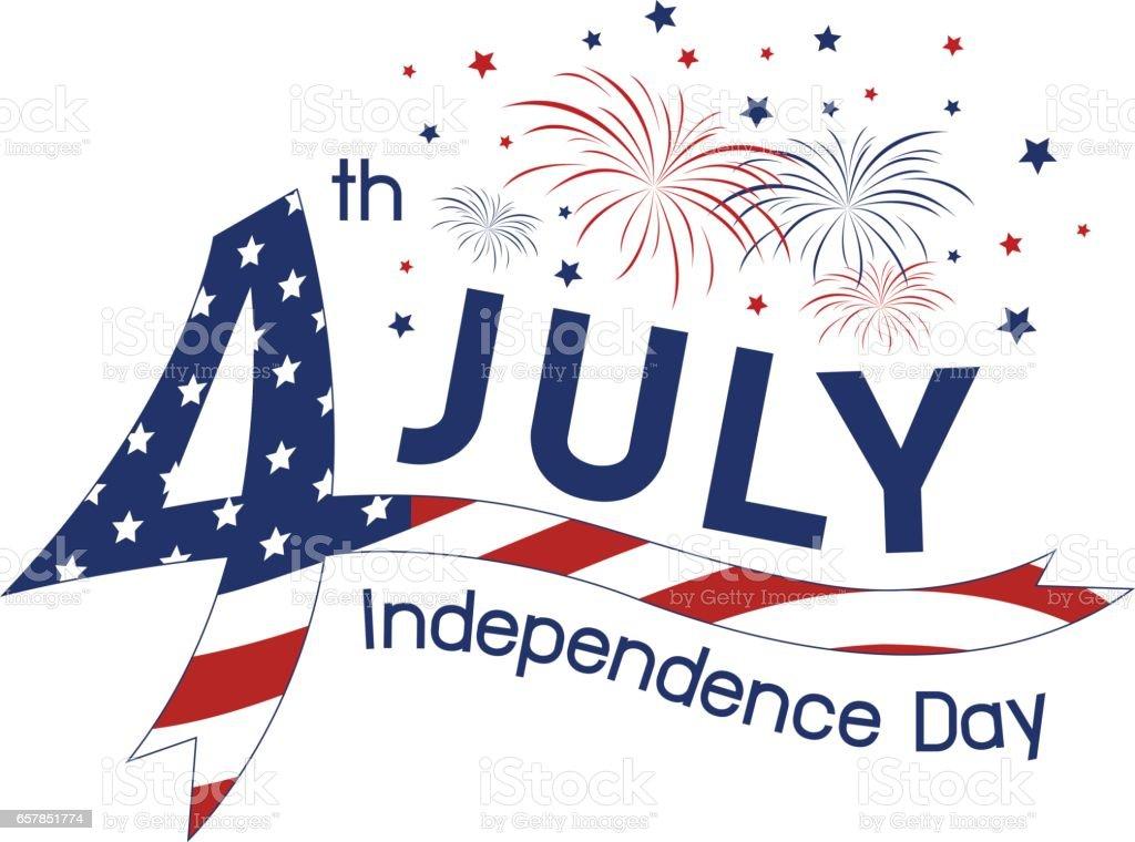 USA 4 july independence day design vector art illustration