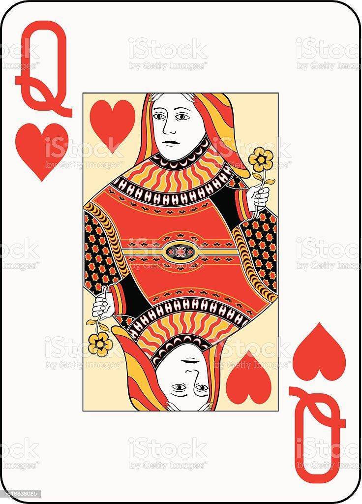 Jumbo index queen of hearts vector art illustration