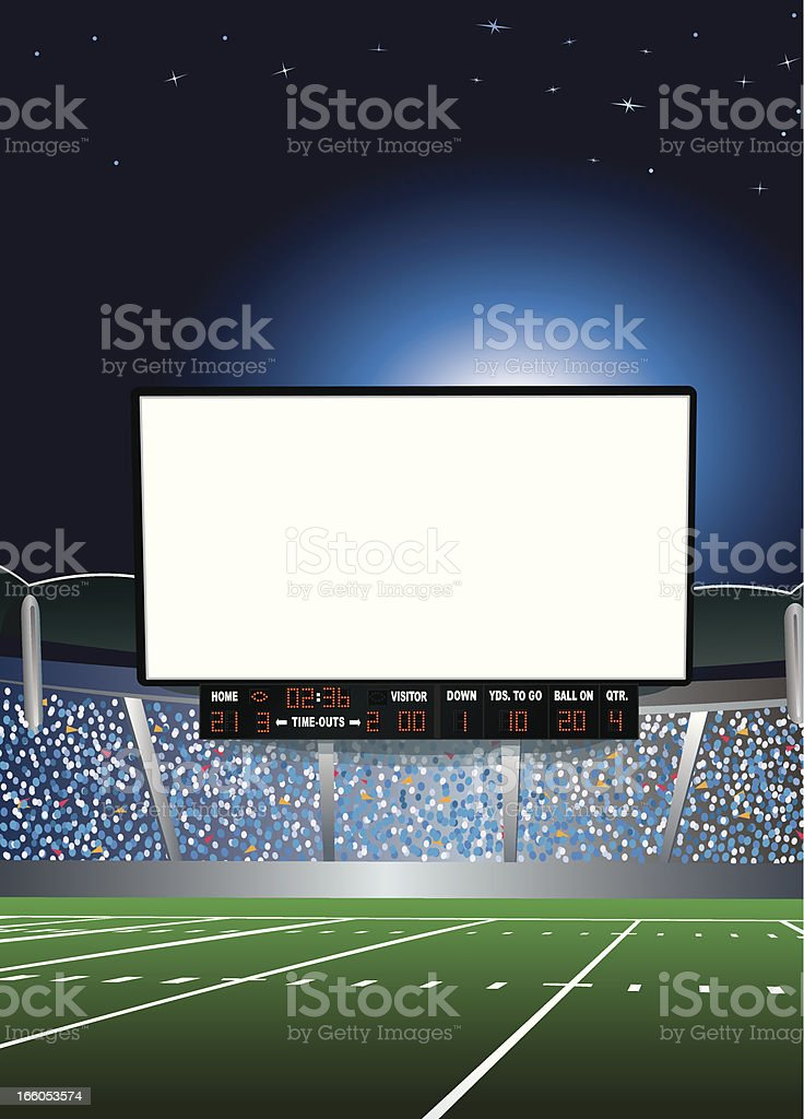 Jumbotron - Large Scale Screen in Football Stadium Background vector art illustration