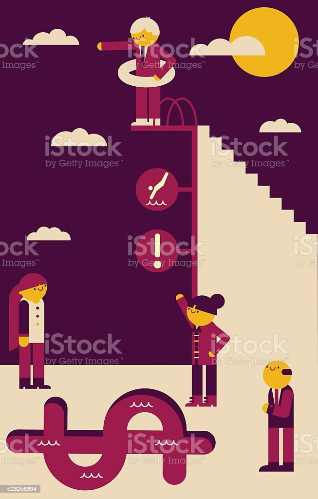 Jump at your Own Risk vector art illustration