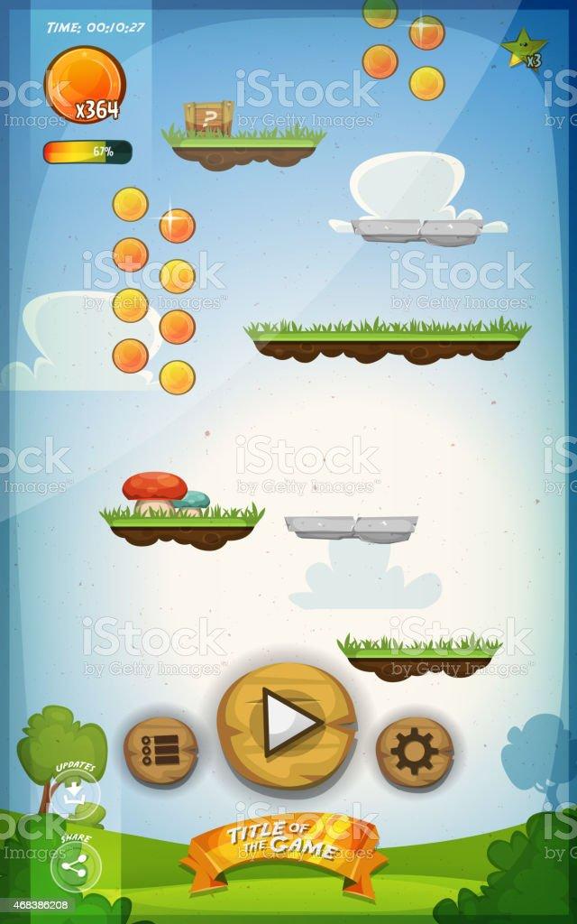 Jump Game User Interface Design For Tablet vector art illustration