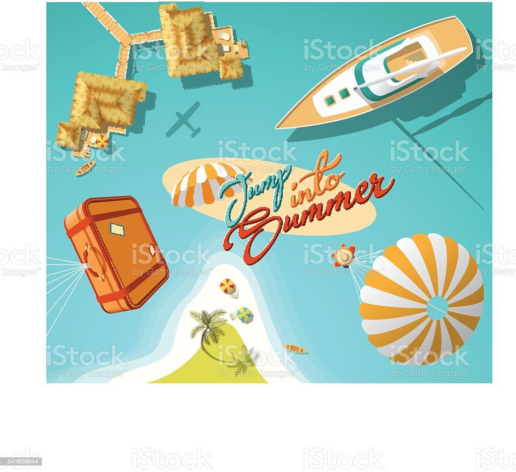 Jump in summer vector art illustration