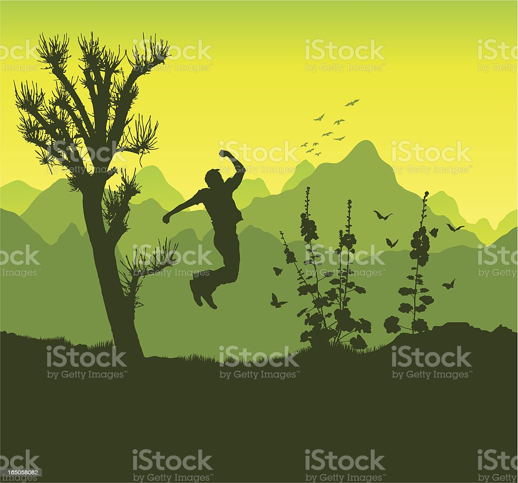 Jump of success in the mountains royalty-free stock vector art