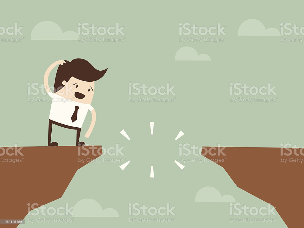 jump through the gap vector art illustration