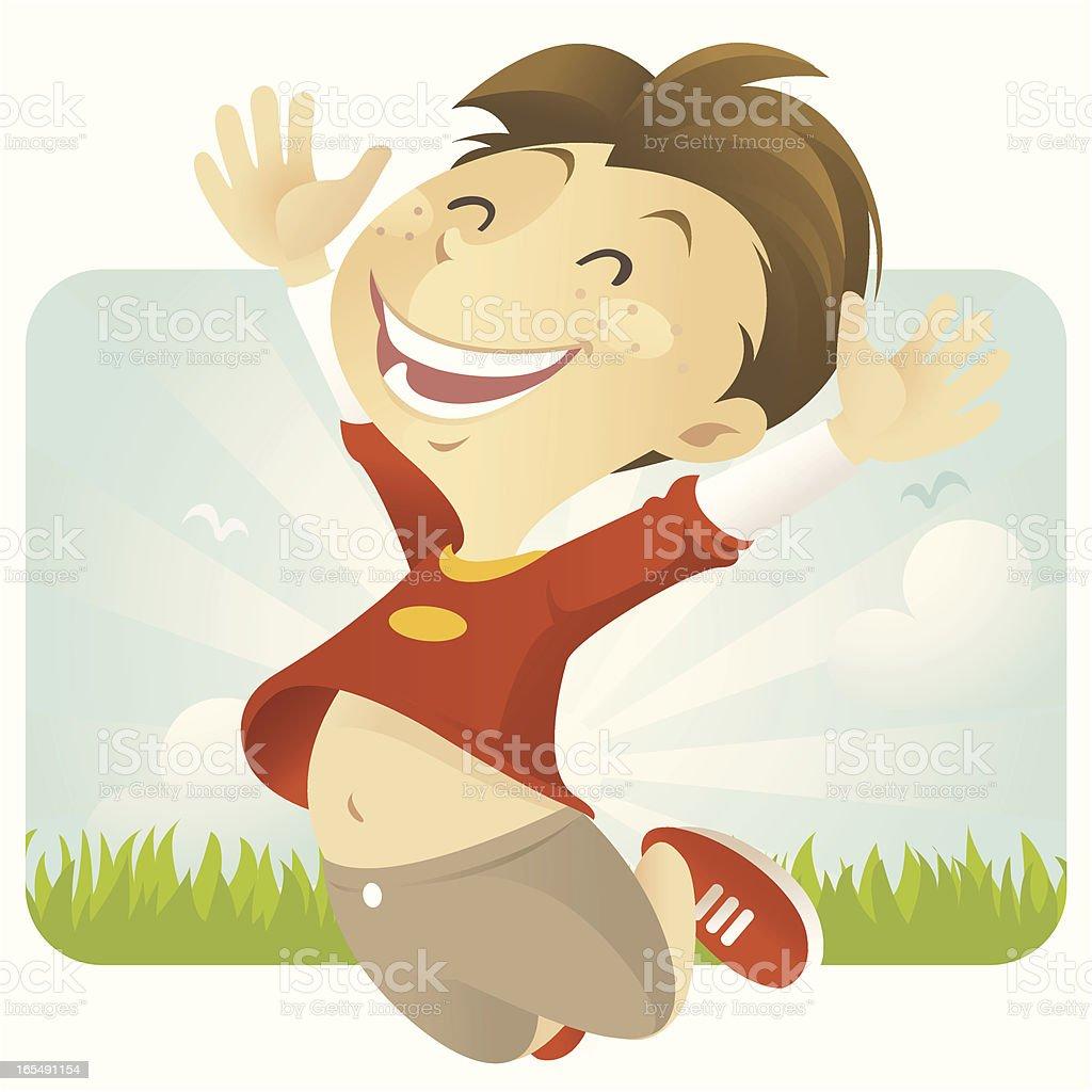 Jump with Joy (boy) royalty-free stock vector art